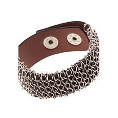 Steel Wire Knited Leather Wide Band Bracelets