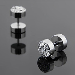 Men's Personality Single Drill Smooth Titanium Steel Earrings 1PCS