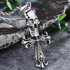 Vintage Skull Cross Flower 316L Stainless Steel Pendant Necklace