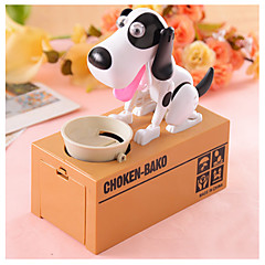 Electric Coin Bank/Money Saving Box/Toy-White-Hungry Eating Dog (2xAA)