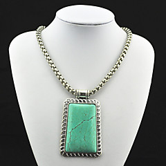 Vintage Look Antique Silver Plated Square Turquoise Stone Necklace Pendant(1PC)