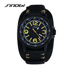 SINOBI® Male Wrist Watch Men Sports Watches Black Leather Waterproof Casual Reloj Minitary Ourdoor Quartz Wristwatches Cool Watch Unique Watch