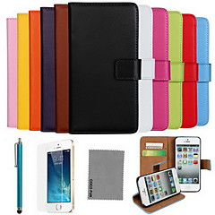 COCO FUN® Luxury Ultral Slim Solid Color Genuine Leather Case with Screen Protector,Cable and Stylus for iPhone 5/5S