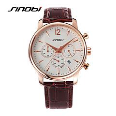 SINOBI Męskie Sportowy Zegarek na nadgarstek Kwarcowy Kalendarz Wodoszczelny Sportowy Skóra Pasmo Czarny Brown