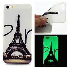 Voor iPhone 5 hoesje Glow in the dark hoesje Achterkantje hoesje Eiffeltoren Zacht TPU iPhone SE/5s/5