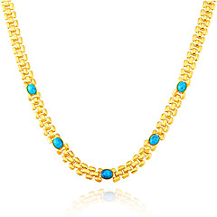 Green Turquoise Stone Fashion Trendy Stamp 18K Gold Plated Chain Necklaces Wholesale for Women Party Gift N50130