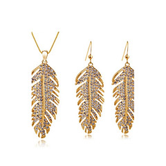 Jewelry Set Classic Elegant Crystal Unique Design Feathers Pendant Necklace Earrings Girlfriend Gift