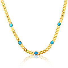 Green Phoenix Stone Trendy Stamp 18K Gold Plated Chain Necklaces Wholesale N50117