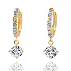 Earring Drop Earrings Jewelry Women Brass / Cubic Zirconia / Silver Plated 2pcs Silver