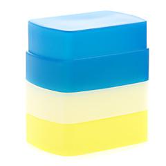 nouvelle silicone flexible rebond flash diffuseur softbox blanc + jaune + bleu pour canon 580ex ii yn-568/565/560 iii