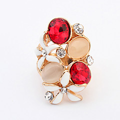 Women's New Fashion Shiny Rhinestone Flower Blossoming Ring