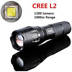 LED taskulamput LED 5 Tila 1200 lumens LumeniaSäädettävä fokus / ladattava / Iskunkestävä / Lipsumaton kädensija / Isku viiste / Hätä /