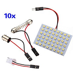 10 Pcs 3528 SMD LED Panel 48 Warm White LED Light +T10/BA9S Module + Double Tip(DC 12V)