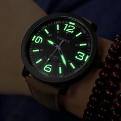 Herren Armbanduhr Quartz PU Band Schwarz / Braun Marke-