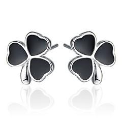 2016 Korean Women 925 Silver Sterling Silver Jewelry Lucky Clover Earrings Stud Earrings 1Pair