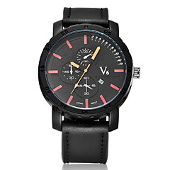 V6® Men's Fashion Date  Analog Display Leather Band Quartz Watch Cool Watch Unique Watch