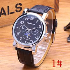 Men's Fashion Watch Imitation Three Men's Casual High Quality PU Leather Quartz Watch Cool Watch Unique Watch