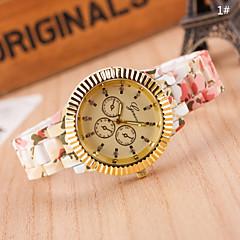 las mujeres de moda de estilo europeo flores impresas reloj de pulsera de oro
