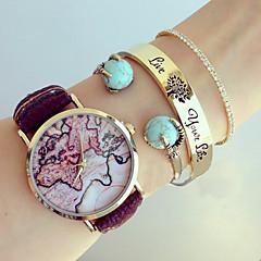 Womens Watches Fashion Map Wristwatch Leather Female Watch Analog Quartz Watch For Women Men Unisex watches Cool Watches Unique Watches
