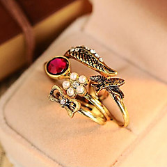 MISSING U Alloy / Imitation Pearl / Rhinestone Ring Statement Rings Daily / Casual 1set