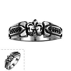 Ретро стиль простой щедрый и не использует декоративный камень мужской кольцо из нержавеющей стали (черный) (1шт)
