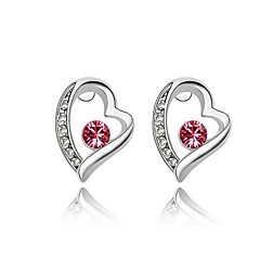 Heart Shape Κουμπωτά Σκουλαρίκια Κρίκοι Κοσμήματα Γυναικεία Καρδιά Γάμου Πάρτι Καθημερινά Causal Απομίμηση Μαργαριταριού 1set Ασημί