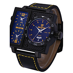SKONE ® Men's Sports Watches Fashion PU Leather Strap Wrist Watch Big Face Square Dial 3 Time Zone Quartz Watch Cool Watch Unique Watch