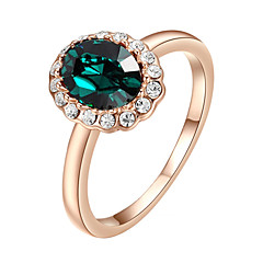 Ring Imitation Emerald Fashion Wedding / Party Jewelry Alloy Women Statement Rings 1pc,One Size Silver / Rose Gold
