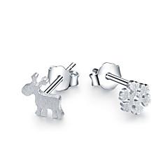 Oorknopjes Modieus Sterling zilver Dierenvorm Hert Sneeuwvlok Zilver Sieraden Voor Bruiloft Feest Dagelijks 2 stuks