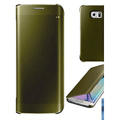 For Belægning Spejl Flip Transparent Etui Heldækkende Etui Helfarve Hårdt PC for Samsung S6 edge plus S6 edge S6