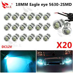 20 x 9w 12v de hielo llevó el drl coche de la luz del ojo de águila diurno niebla automática de señal inversa