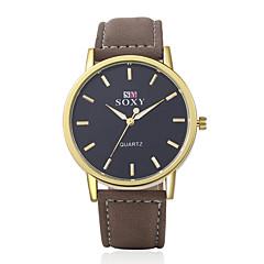 Herren Armbanduhr Quartz Leder Band Braun Marke