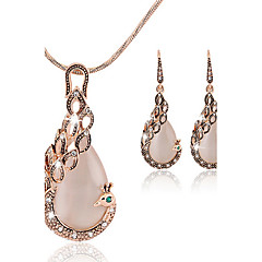 May Polly  gemstone necklace earrings set a peacock