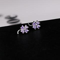 925 Silver Four Maple Leaf Forceps Zircon Fashion Leisure Stud Earrings