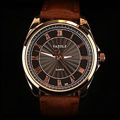 YAZOLE 남성 손목 시계 석영 가죽 밴드 블랙 브라운