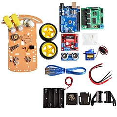 ny unngåelse sporing motor smart robot bil chassis kit speed encoder batteri boks 2wd ultralyd modul for Arduino kit