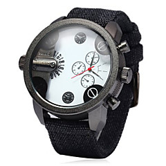 Men's Military Fashion Double Time Design Fabric Band Quartz Watch Wrist Watch Cool Watch Unique Watch