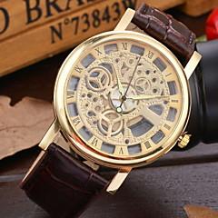 Hombre Reloj de Pulsera El reloj mecánico Cuerda Automática Piel Banda Negro Marrón
