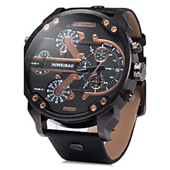 Men's Military Fashion Big Dial Dual Time Zones Leather Band Quartz Watch Wrist Watch Cool Watch Unique Watch