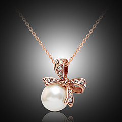 Lucky Doll Alloy / Imitation Pearl / Rhinestone / Rose Gold Plated Necklace Pendant Necklaces Party / Daily 1pc
