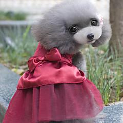 Perros Vestidos Rojo / Azul / Rosado / Dorado Ropa para Perro Verano / Primavera/Otoño Clásico / LazoBoda / Moda / Cumpleaños / Navidad /