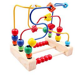 cuentas de madera alrededor de tres línea de juguetes alrededor del juguete del bebé del marco del grano de la flor para los niños clásico