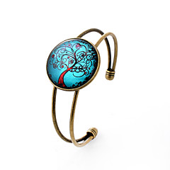 Lureme® Simple Jewelry Time Gem Series Blue Sky with Life Tree Disc Charm Open Bangle Bracelet for Women and Girl