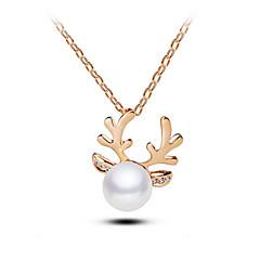 European Style Fashion Elegant Shiny Rhinestone Pearl Antlers Necklace