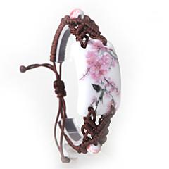 Ethnic Hand Knitting Pink Peach Blossom Ceramics Bracelet