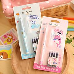 1PC Love Story Whale Fountain Pen Can Change Liquid Capsule Straight Type Erasable Pen  Students Suit(Random color)