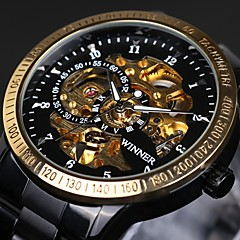 WINNER® Men's Skeleton Auto Mechanical Stainless Steel Band Golden/Black Wrist Watch Water Proof Cool Watch Unique Watch Fashion Watch