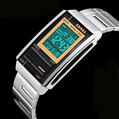 Męskie Zegarek na nadgarstek Kwarc japoński LCD / Kalendarz / Chronograf / Wodoszczelny / alarm Stal nierdzewna Pasmo Srebro Marka-