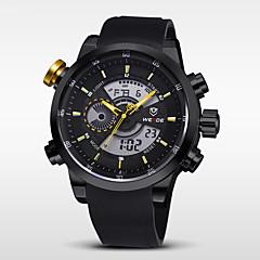 Hombre Reloj de Pulsera Cuarzo Japonés LCD / Calendario / Cronógrafo / Resistente al Agua / Dos Husos Horarios / alarma Caucho Banda Negro