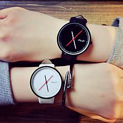 Men's Women's Unisex Fashion Watch Quartz PU Band Black White